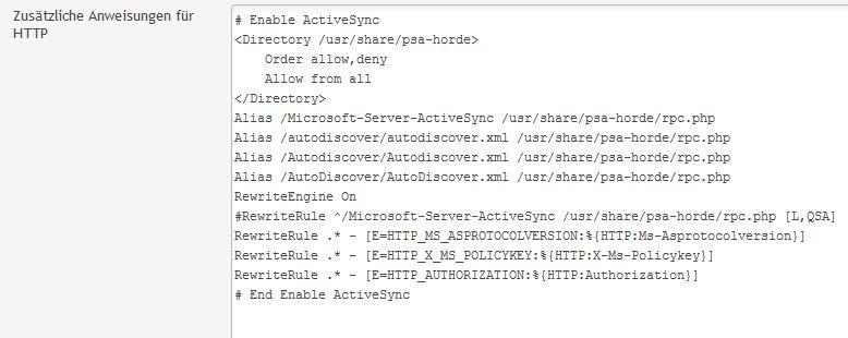 Zusätzliche Anweisungen für HTTP - ActiveSync mit Horde Aktivieren